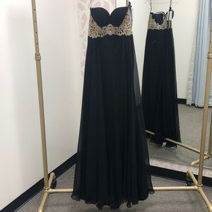 Black Strapless Prom Gown